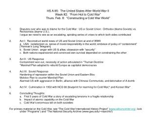 Lecture 3 Constructing Cold War World Outline