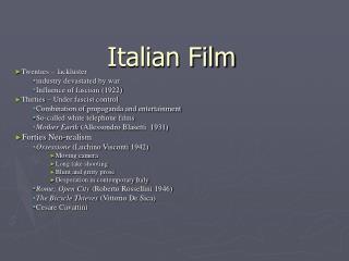 Italian Film Twenties   lackluster industry devastated by war