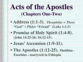 Acts of the Apostles (Chapters One-Two)