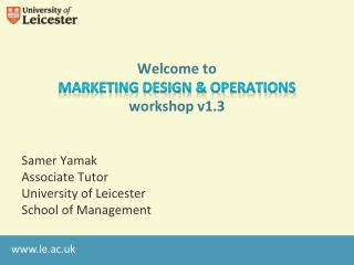 Welcome  to Marketing Design & Operations workshop v1.3