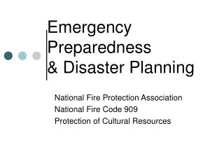 Emergency Preparedness & Disaster Planning