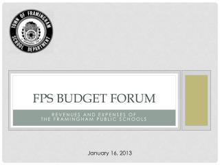 FPS BUDGET FORUM