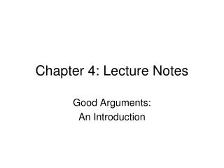 Chapter 4: Lecture Notes