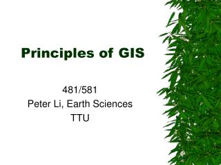 Principles of GIS