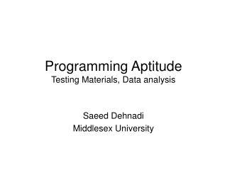 Programming Aptitude  Testing Materials, Data analysis