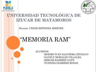 UNIVERSIDAD TECNOLÓGICA DE IZUCAR DE MATAMOROS