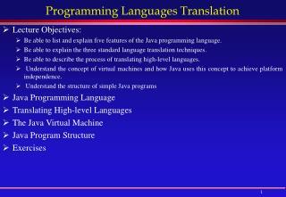 Programming Languages Translation