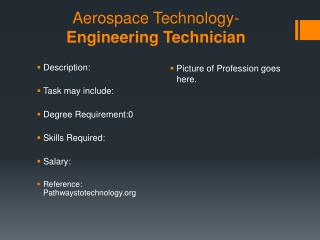 Aerospace Technology- Engineering Technician
