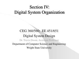 Section IV:  Digital System Organization