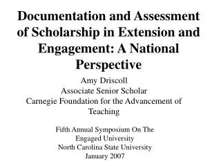 Documentation and Assessment of Scholarship in Extension and Engagement: A National Perspective