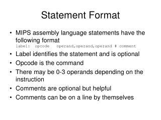 Statement Format