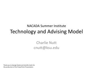 NACADA Summer Institute Technology and Advising Model