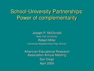 School-University Partnerships: Power of complementarity