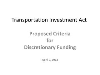 Transportation Investment Act