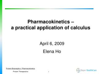 Pharmacokinetics –  a practical application of calculus