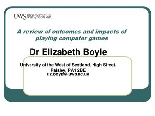 A review of outcomes and impacts of playing computer games