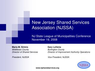 New Jersey Shared Services Association NJSSA  NJ State League of Municipalities Conference November 19, 2008