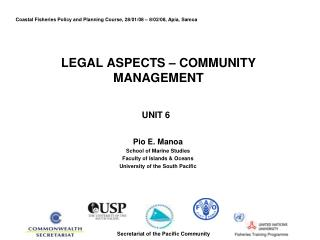LEGAL ASPECTS � COMMUNITY MANAGEMENT