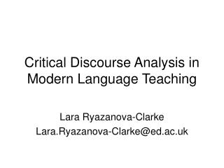 Critical Discourse Analysis in Modern Language Teaching