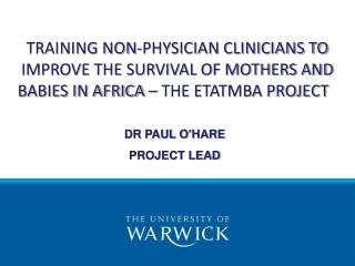 TRAINING NON-PHYSICIAN CLINICIANS TO