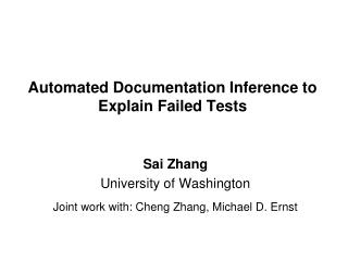 Automated Documentation Inference to Explain Failed Tests