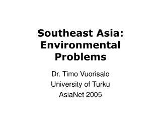 Southeast Asia: Environmental Problems