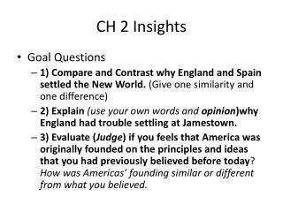 CH 2 Insights