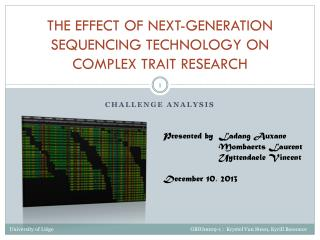The  effect  of  Next - Generation Sequencing technology  on  complex  trait  research