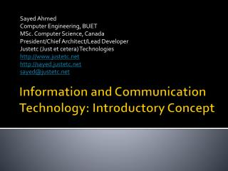 Information and Communication Technology: Introductory Concept