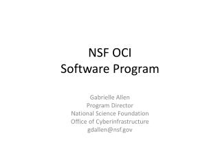 NSF  OCI  Software Program