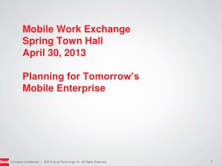 Mobile Work Exchange Spring Town Hall April 30, 2013 Planning for Tomorrow's  Mobile Enterprise