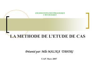 ATELIER D'INITIATION PÉDAGOGIQUE L'IFCS DE RABAT