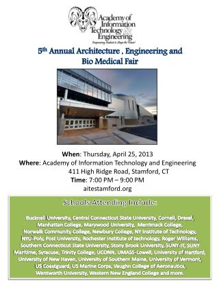 5 th  Annual Architecture , Engineering and  Bio Medical Fair
