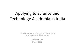 Applying to Science and Technology Academia in India