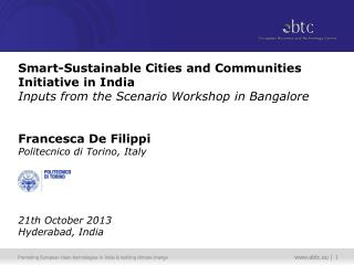 Scenario Workshop  on  Smart-Sustainable Cities and Communities Initiative in India