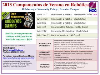 2013  Campamentos  de  Verano  en  Robótica a