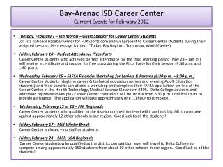 Bay-Arenac ISD Career Center Current Events for February 2012