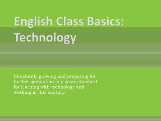 English Class Basics: Technology