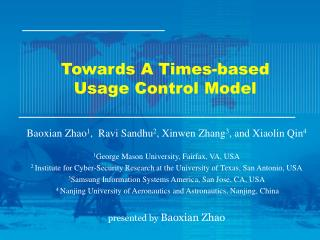 Towards A Times-based Usage Control Model