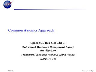 Common Avionics Approach