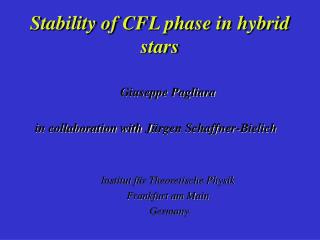 Stability of CFL phase in hybrid stars