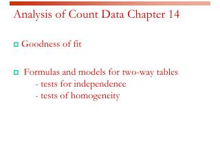 Analysis of Count Data  Chapter  14