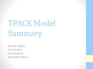 TPACK Model Summary
