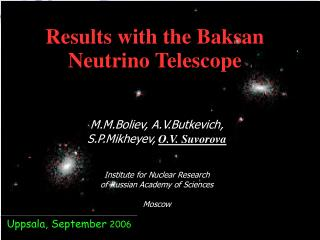 Results with the Baksan Neutrino Telescope