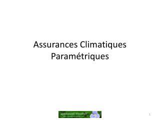 Assurances  Climatiques Paramétriques