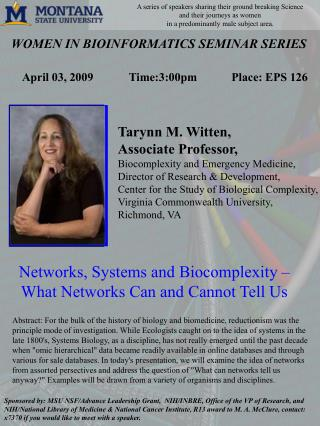 WOMEN IN BIOINFORMATICS SEMINAR SERIES