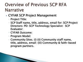 Overview of Previous SCP RFA Narrative