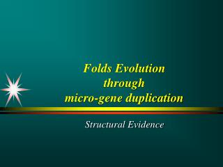 Folds Evolution  through  micro-gene duplication