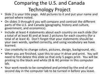 Comparing the U.S. and Canada Technology Project