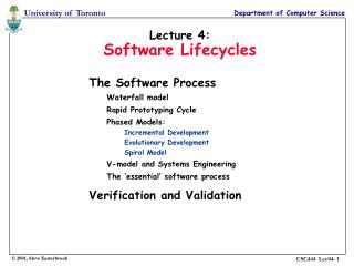 Lecture 4: Software Lifecycles